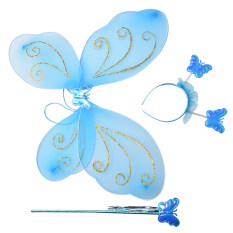 Veli Shy 3xlittle Girls Fairy Butterfly Wings Wand Headband Party Colored Costume Blue By Veli Shy.