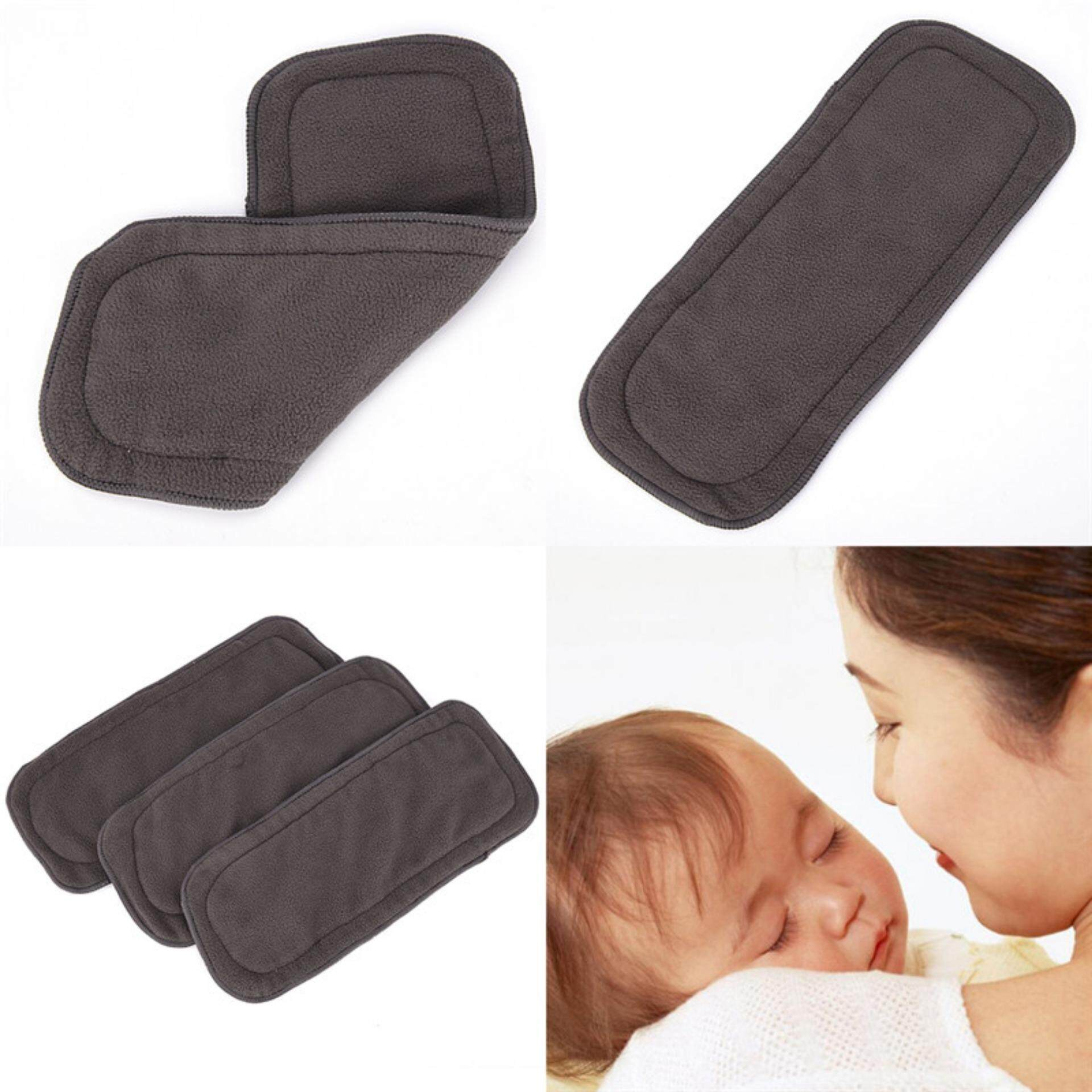 4 Layers Soft Reusable Born Baby Bamboo Charcoal Cotton Liners Cloth Diapers Black - Intl By Civilian Princess.