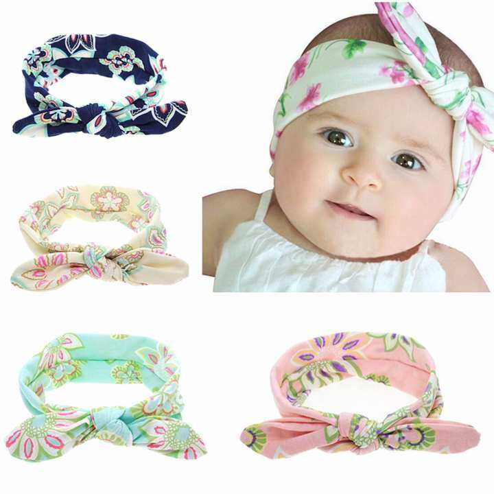 4 PCS Baby Headband Beautiful Flower Bow Tie Girl Hair Band Girls Elastic Head  Wrap 54df655ed35