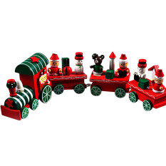 4 Pieces Wood Christmas Xmas Train Decoration Decor Gift By Fashion Deal.
