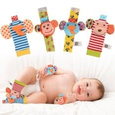 4pcs Animal Baby Wrist Rattles And Foot Finder Set Developmental Soft Toys - Monkey And Elephant By Saideng.