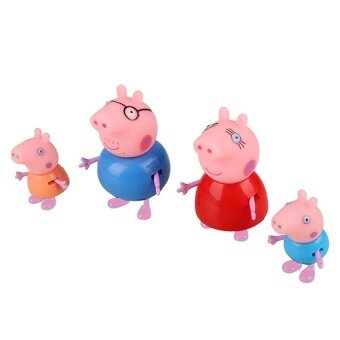 4pcs Pink Pig Family Dad Mom Figure Kids Child Lovely Animal ToysSet Gift