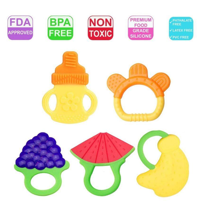 【5 Pack】Baby Teething Toys - SLGOL Soft Silicone Fruit Teething Toys Set for 3 to 12 Months Babies, Infants, Toddlers