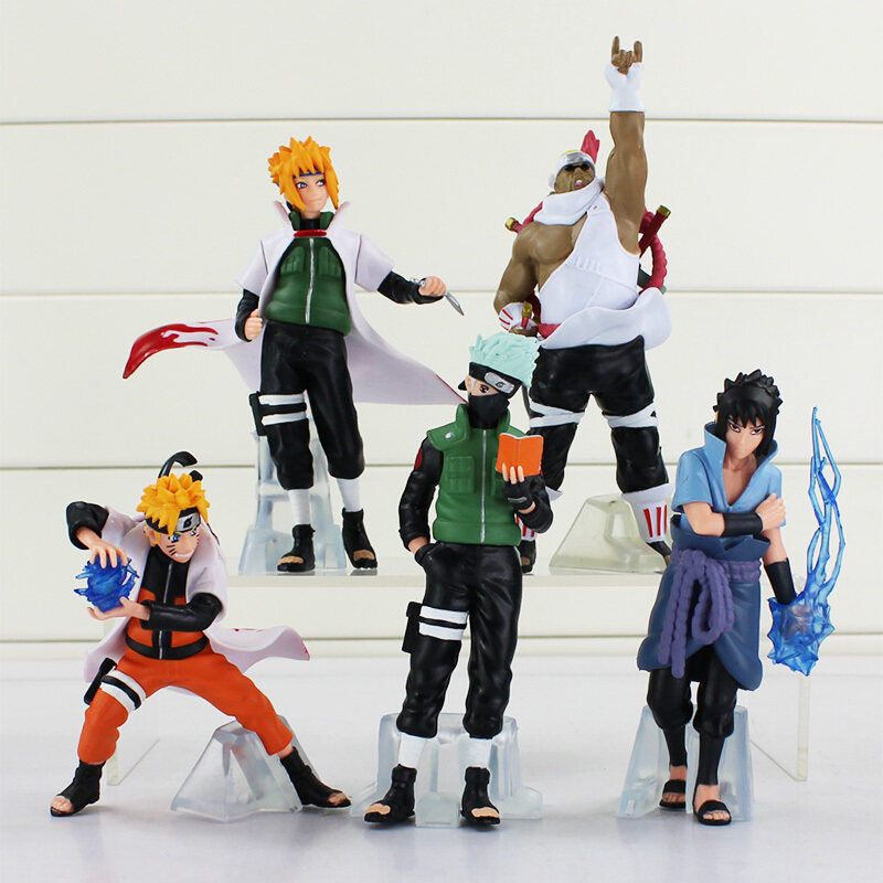 5 pcs/set 6.3 Anime Naruto Uchiha Sasuke Kakashi Minato Namikaze PVC Figure Model Toy
