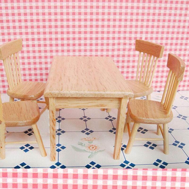5 Pieces Kursi Meja Meja Meja Set Rumah Boneka Miniatur Furniture Terbuat dari Kayu 1/12-Internasional