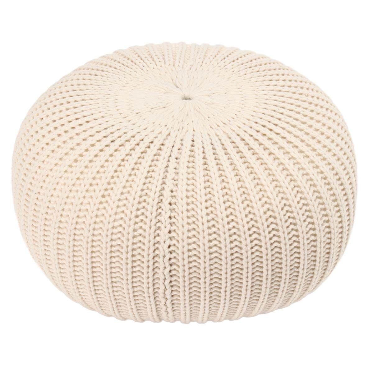 Best Buy 50Cm Round Chunky Knitted Footstool Large Ottoman Pouffe Fabric Foot Stool Seat Beige Intl
