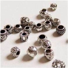 50pcs Gift Mixed Silver Tone Alloy Spacers Charm Beads Fit Bracelet By Superbuy888.
