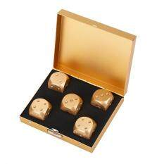 Duoqiao 5pcs Aluminium Alloy Table Game Poker Games Dices Set With Storage Box (gold-Square Box)(gold) By Duoqiao.