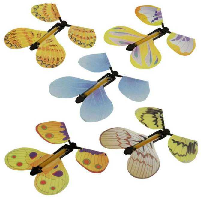 5pcs Magic Flyer Butterfly Plastic Transform Flying Butterfly Cocoon into a Butterfly Trick Prop Magic Toy