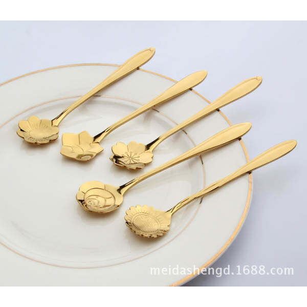 Fantastic Flower 5pcs Stylist Stainless Lovers Cherry Blossoms Spoons Tea Box Coffee Spoon Measuring Package Without -Color:gold By Jbggalwk.