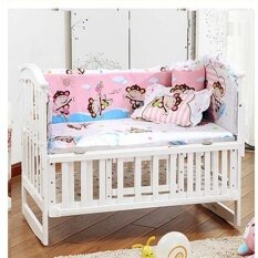 5pcs/set Cotton Baby Cot Bedding Set Newborn Crib Bedding Detachable Pillow Bumpers Sheet Cot Bed Linen Crib Around Protection Baby Bed Bumper 120x65cm By Honey Xuan.