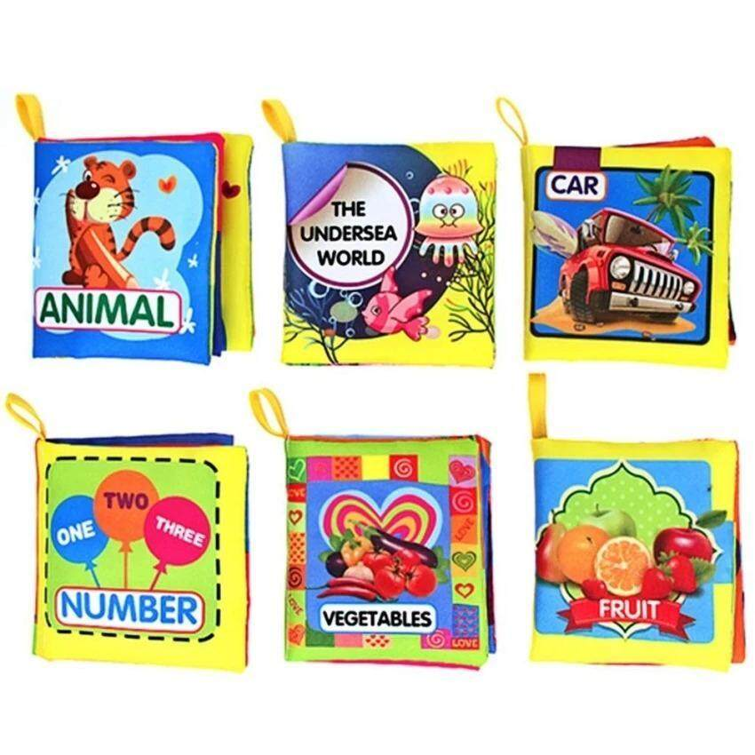 6 PCS Baby Mini Early Educational Color Soft Fabric Cloth Book Car Animal Undersea Number Fruit Vegetable Theme Book for 0-3 Years Old Kids