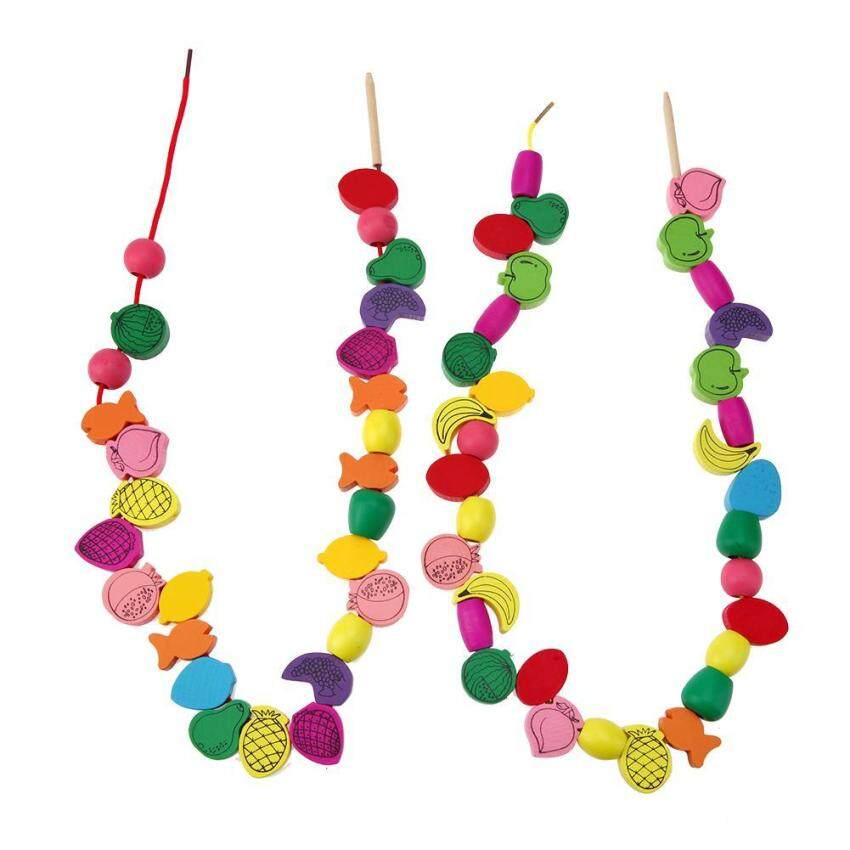 60pcs/lot Wooden Fruit Stringing Threading Beads Game Education Toy for Kid
