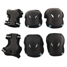 6pcs Adult Kids Cycling Roller Skating Cycling Set Knee Elbow Wrist Protective Gear Pads Support Set Size L (black+blue) By Candy Star.