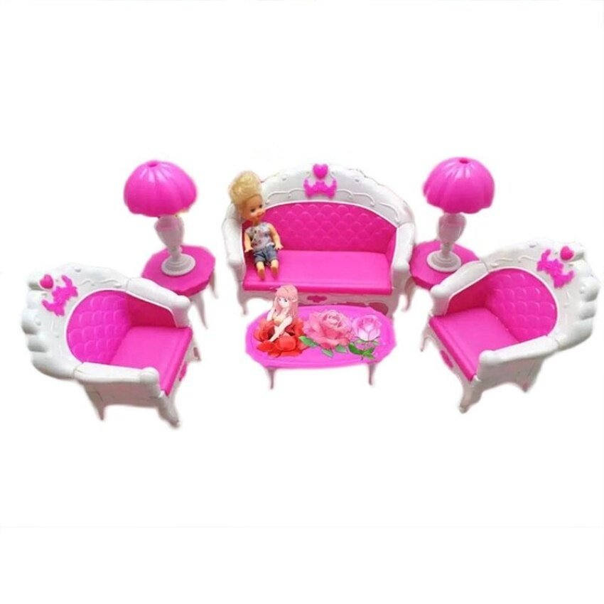 6Pcs Plastic Dollhouse Furniture Pink Living Room Parlour Sofa Chair Set Baby Doll Accessory House Furniture for Best Kids Gift - intl