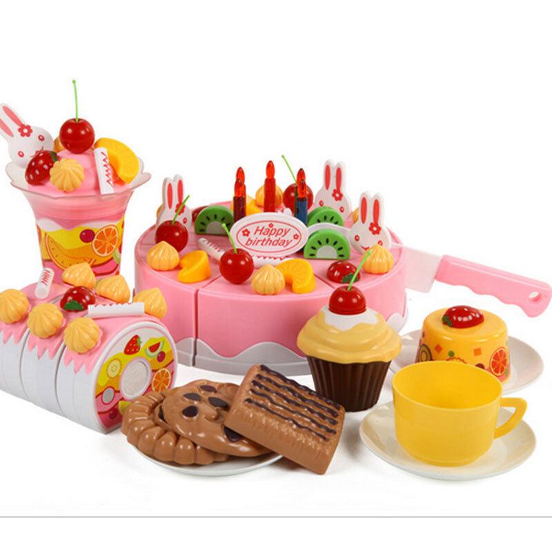 75Pcs/Set Plastic Kitchen Cutting Birthday Cake Toy Gift For Children Kids Girls