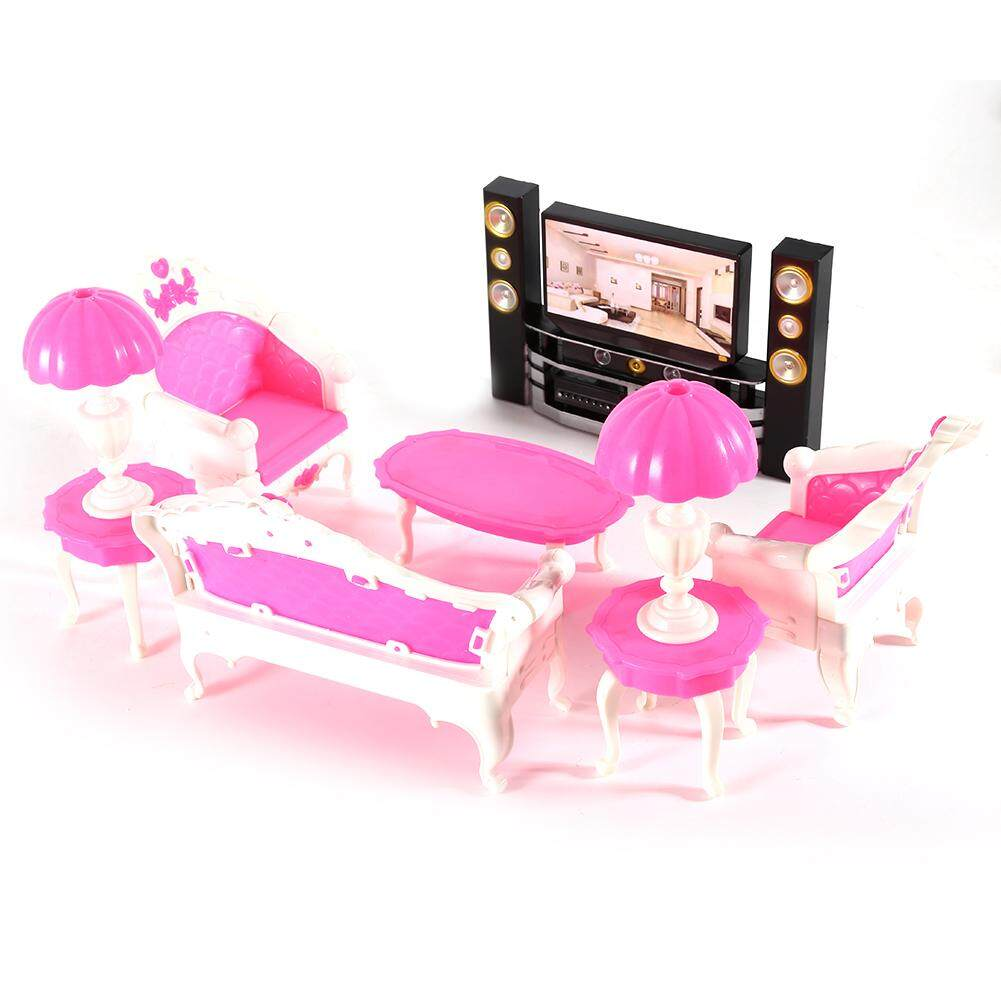 7Pcs Deluxe Barbie Dolls Living Room Furniture Sofe+Chair+Table+Lamps+TV Cabinet Entertainment Set - intl