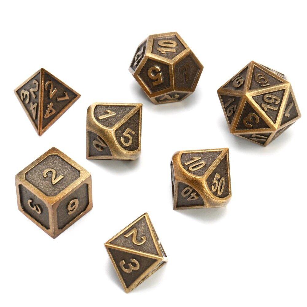 Hình ảnh 7pcs Zinc Alloy Polyhedral Side Dice Role Play Game Dice DIY Antique Nickel - intl