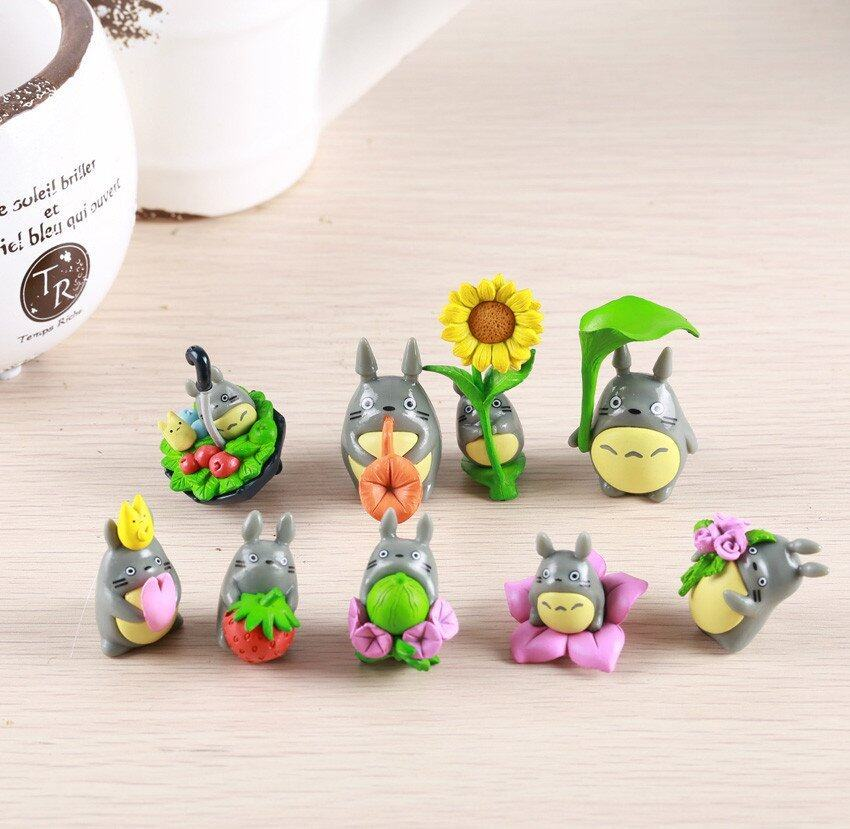 9pcs/lot 2.5inch Cute Lovely Anime My Neighbor Totoro Figure Gifts PVC Doll Resin Miniature Figurines Toys