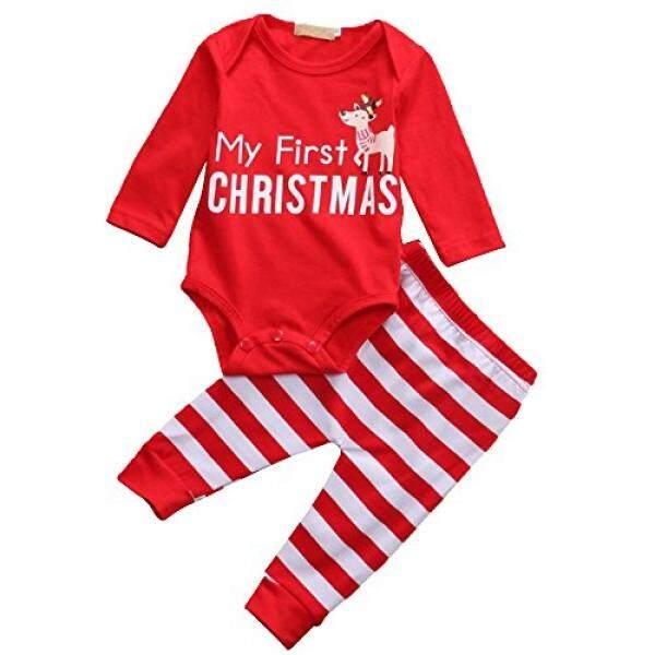 Adoy Adoy Kids Unisex Xmas Set Piyama Kaos + Celana + Topi Baju Tidur (70 (6-12Months), merah Celana Kodok)-Intl