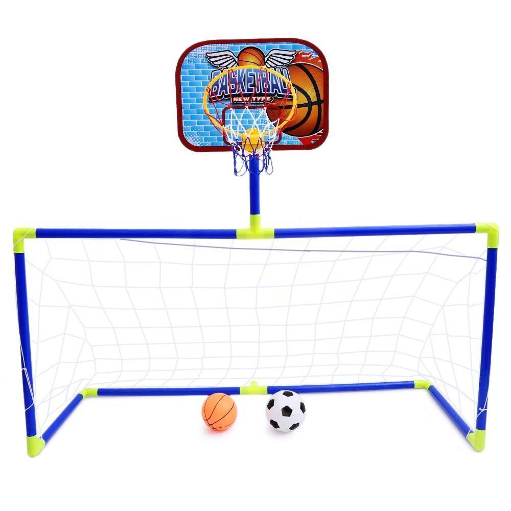 Anjanle เด็กแบบพกพา 2 - In - 1 ฟุตบอลและบาสเก็ตบอลชุดกีฬาในร่มกลางแจ้งของเล่นพัฒนาเกม - Intl.
