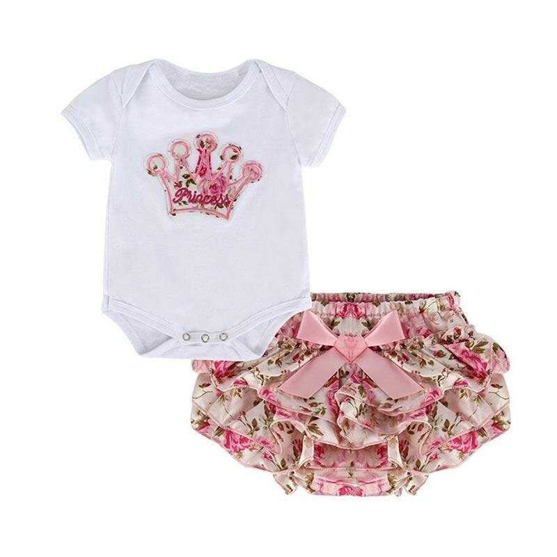 B-F Fashion Summer Girl 2 Piece Set Romper Short Sleeve Crown Printed Baby Jumpsuit Floral Skirt