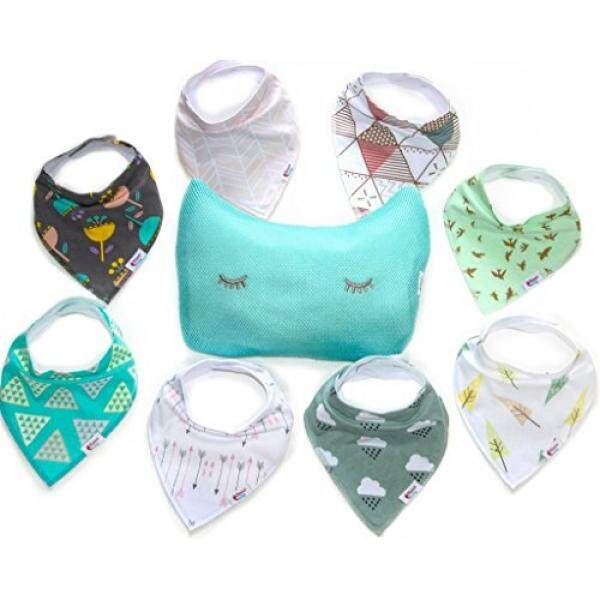 Baby Bandana Drool Bibs, Unisex 8 - Pack plus Wash Bag Gift Set for Drooling and Teething, 100% Organic Cotton, Soft and Absorbent, Hypoallergenic - for Girls and Boys by Alessa Baby - intl