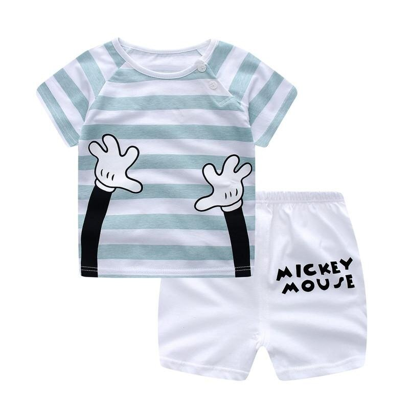 SoonYip Baby Boy Girl Summer Clothes Clothing Suit Shirt+Pants Set 70cm 2#