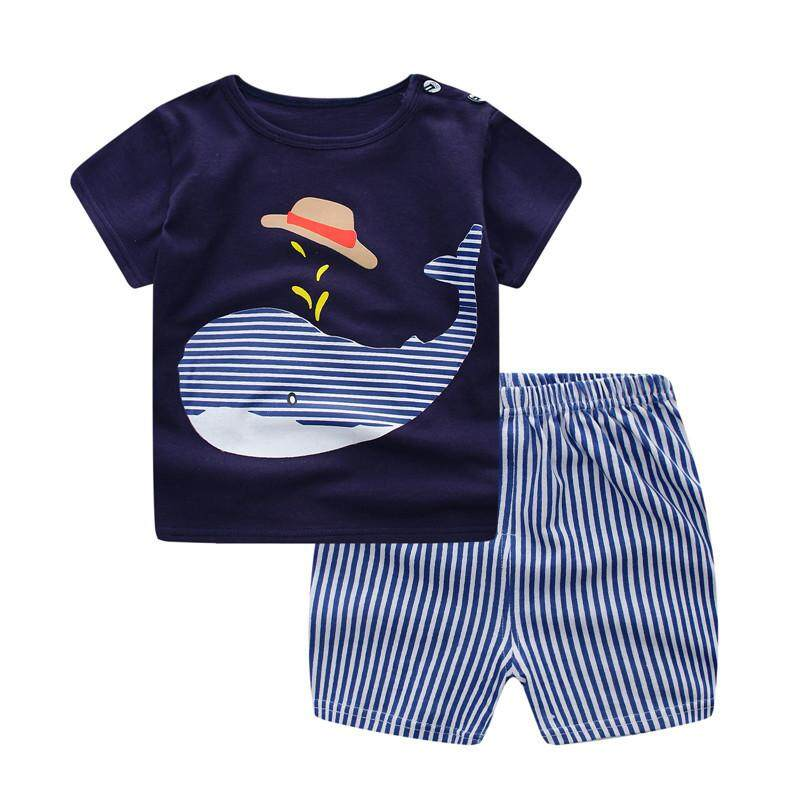 SoonYip Baby Boy Girl Summer Clothes Clothing Suit Shirt+Pants Set 70cm 3#