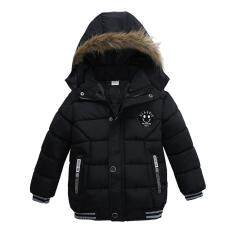 5bfd8af5ca0 Baby Boy Jackets Winter Warm Thick Hooded Zipper Coat Fashion Outwear  Clothes Color Black Size