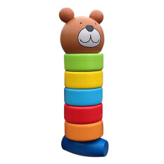 Baby Educational Cartoon Stacking Block Wooden Toy Rainbow Tower By Sportschannel.