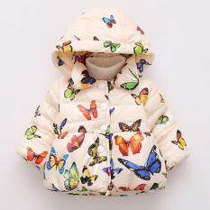 Baby Girl Butterfly Pattern Thick Cotton-Padded Hooded Coat Outwear Warm Clothes For Winter Color:beige Size:90cm By Veecome.