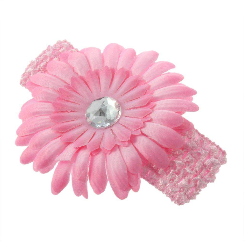 Baby Girl child baby soft infant youth accessory toddler apparel head hair band Crystal Daisy Gerbera Flower bow bows Hair Clip + Crochet Headband Set - intl