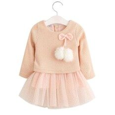 61300634ba952 Baby girl dress Knitting Princess Dress spring winter Party for Toddler  Girl christening dress Clothing Long sleeve Kids Clothes
