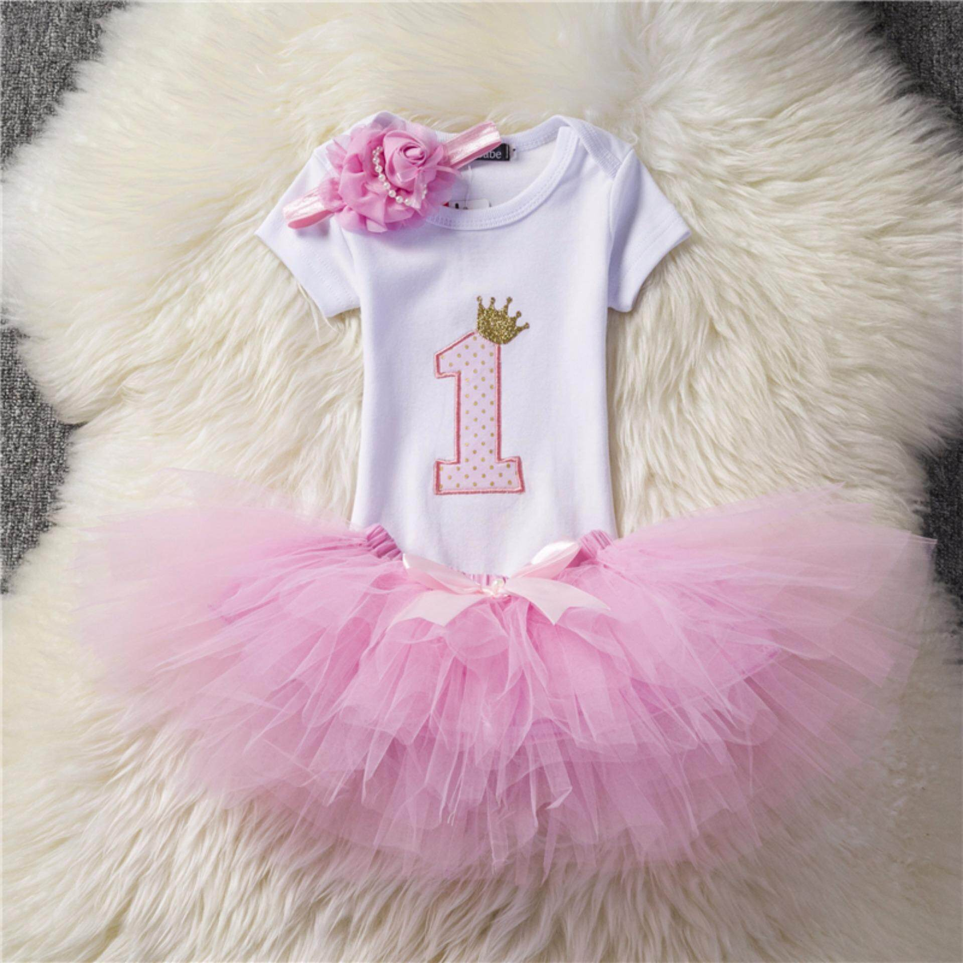 c21c3608fd0bf baby girl first birthday party clothing sets 3 pcs suits romper + skirt +  headband party princess dress 12 months baby birthday gift - intl