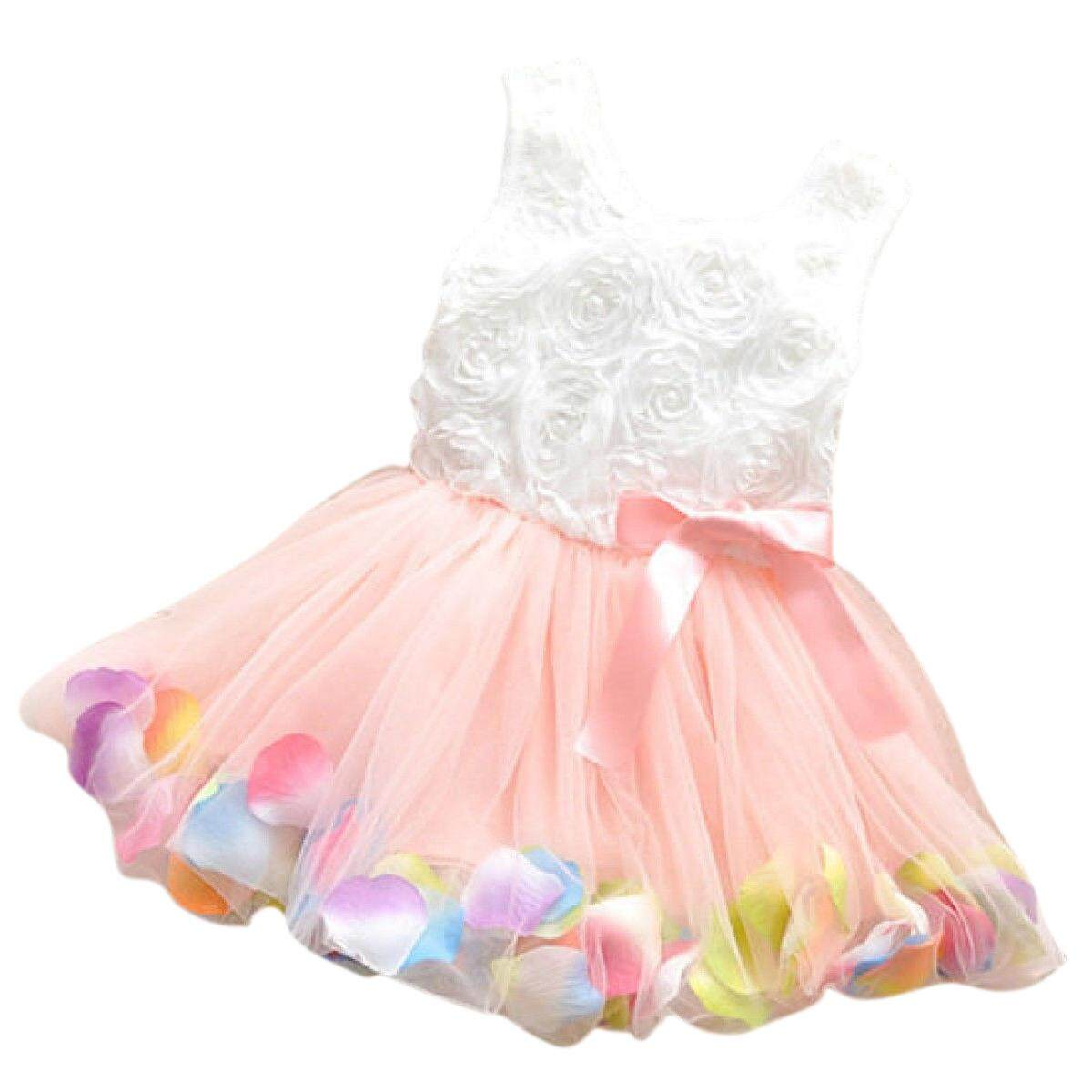 db2bd4736c25 Baby Girl Toddler Occasion Party Wedding Birthday Flower Summer Kids Dress  pink 90 - intl
