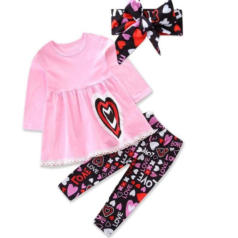 b3b371c4ca5e7 HSGA16RS Baby Girls Clothes Autumn Children Set Heart Pattern Pink Sweat  Tops+pants+headband