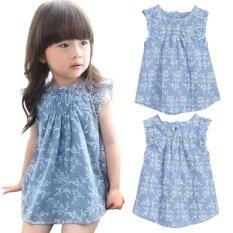 99645e74ba Baby Girls Summer Beach Floral Princess Party Pageant Dresses (Blue)