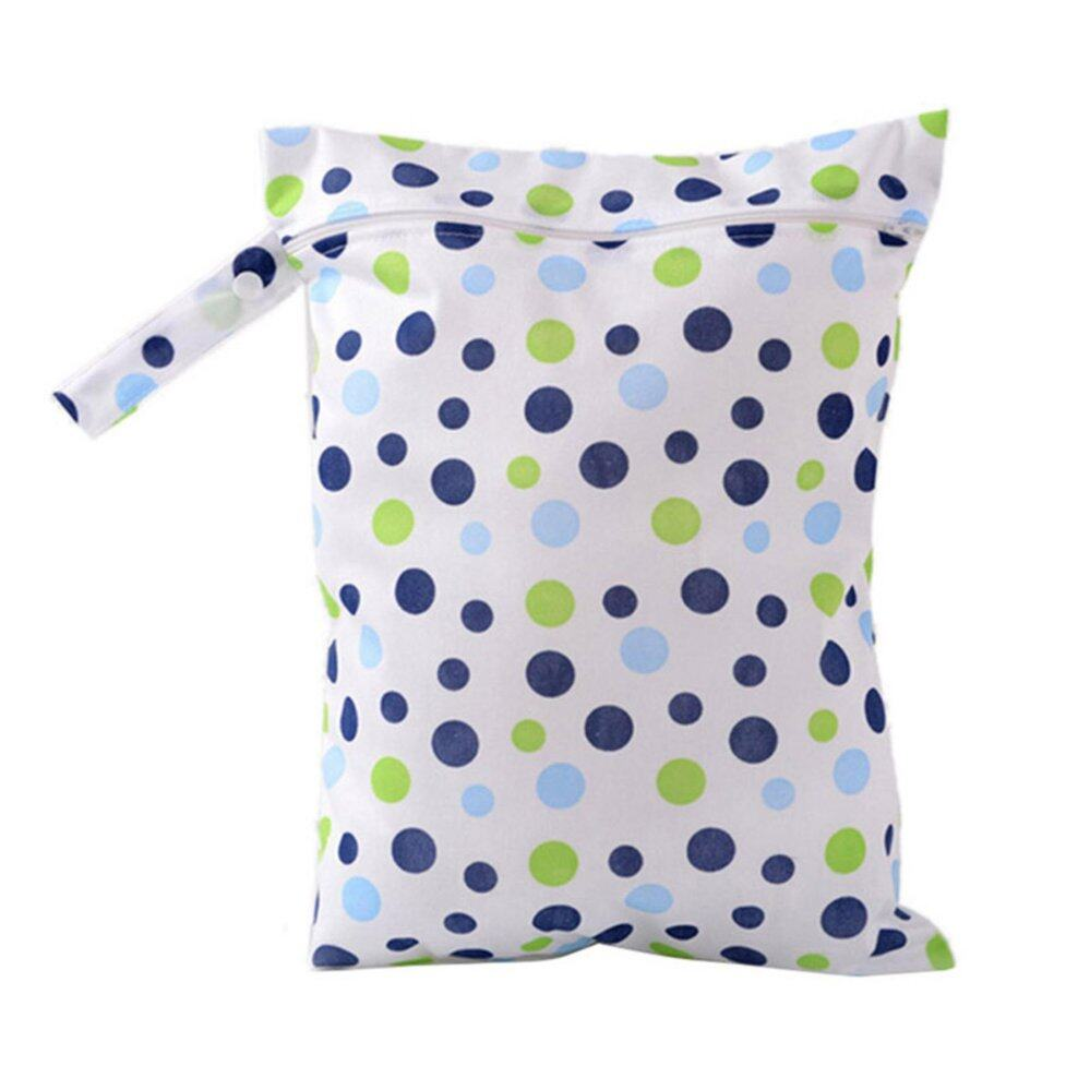 Baby Protable Nappy Washable Nappy Wet Dry Cloth Zipper Waterproof Diaper Bag Blue - intl
