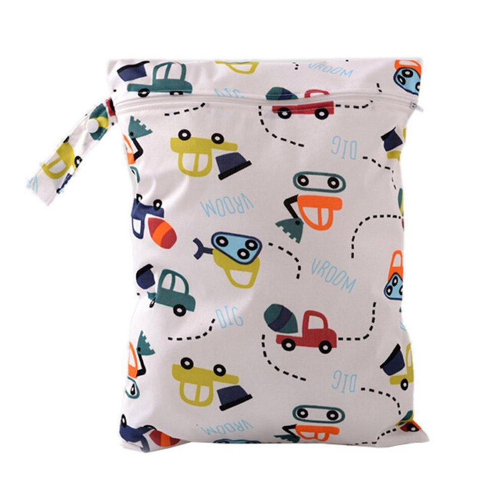Baby Protable Nappy Washable Nappy Wet Dry Cloth Zipper Waterproof Diaper Bag Car - intl