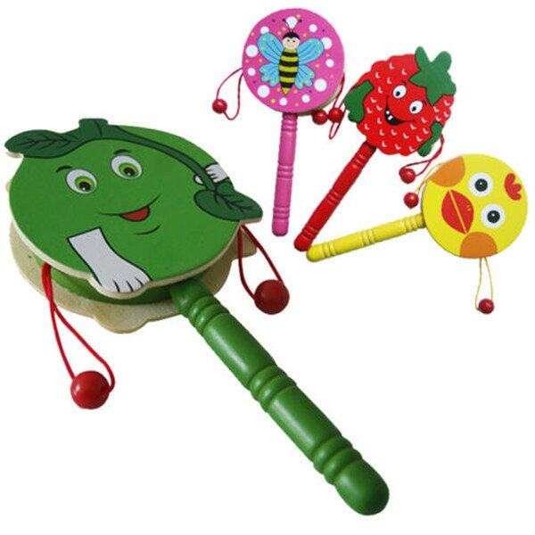 Hình ảnh Baby Shaking Rattle Wooden Musical Hand Bell Drum Toy - intl