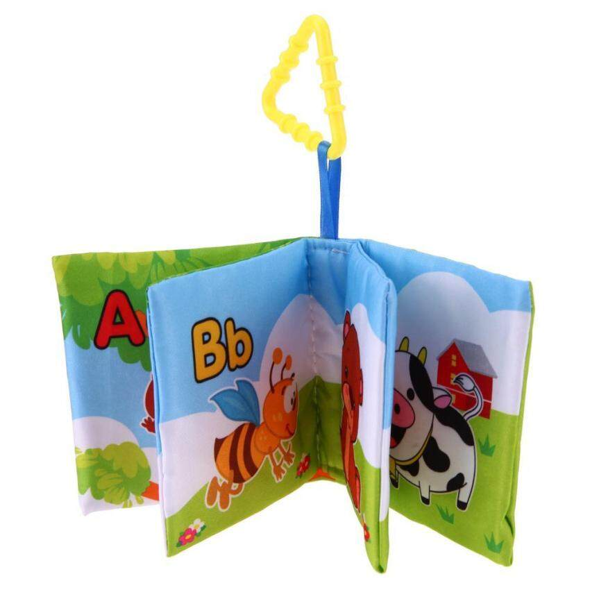 Baby Soft Cloth Books Newborn Infant Rustle Sound Educational Stroller Toy(Multicolor)-Letters