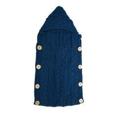Baby Swaddle Wrap Warm Wool Knitted Swaddling Blanket Sleeping Bag(blue) By Welcomehome.