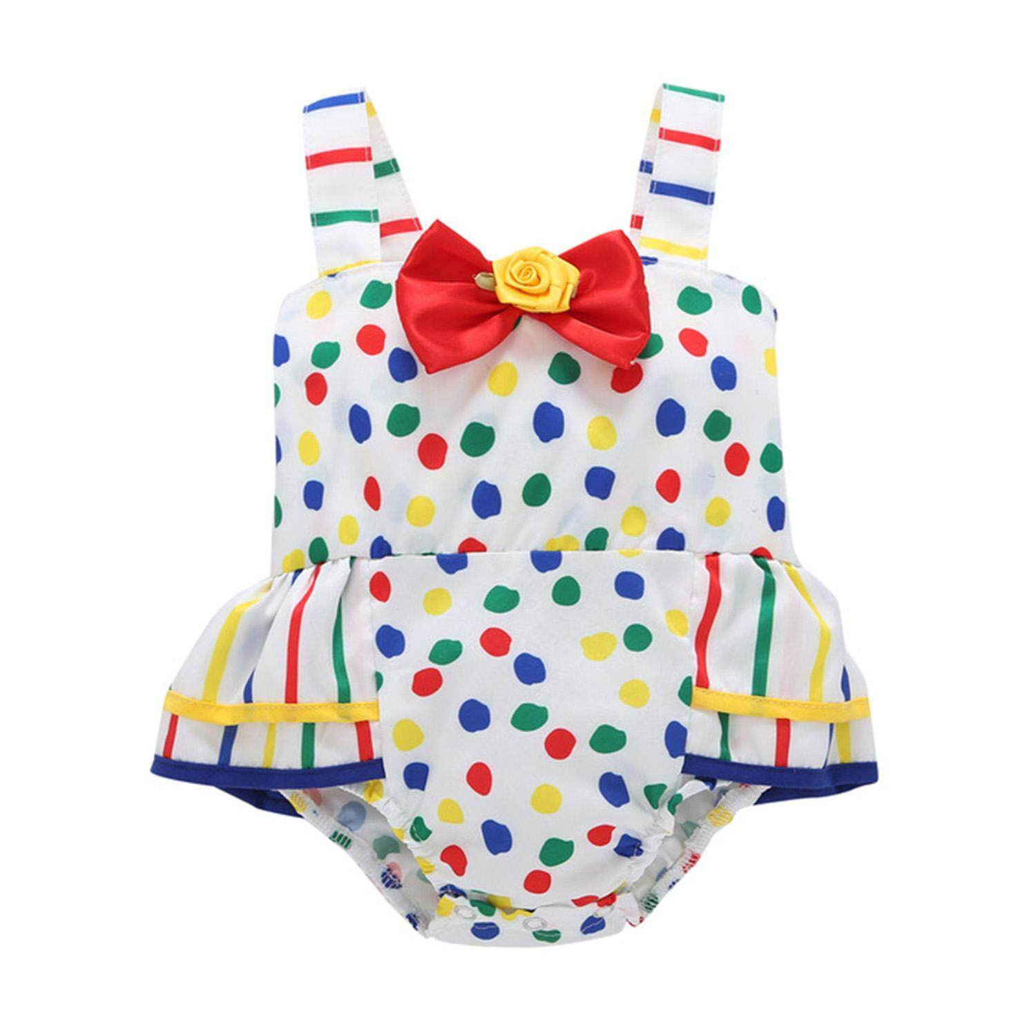 8c8ac1408da GD store Baby Toddler Girls Outfit Colorful Polka Dot Cotton Rompers with  Red Bowknot Sleeveless Jumpsuit