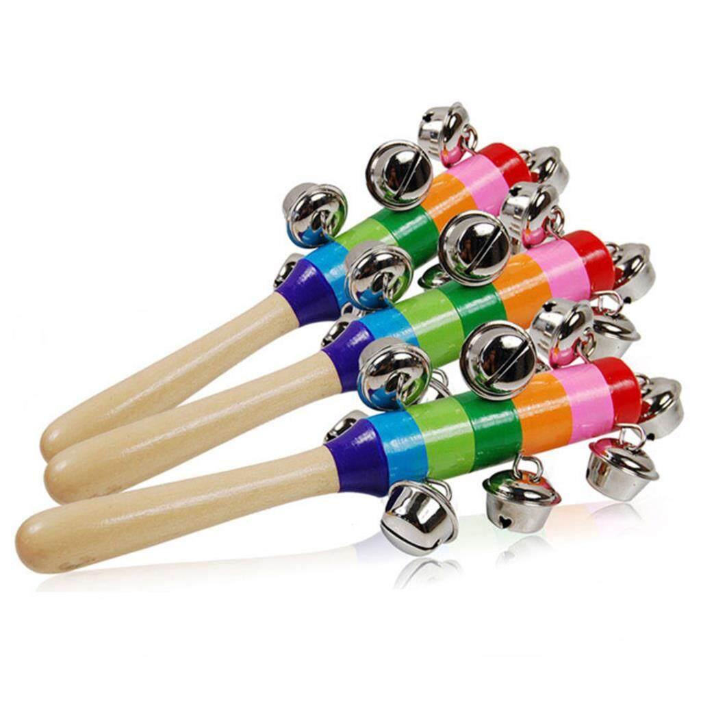 Bayi Mainan Kelontang Rainbow Shaker Tongkat Mainan Pendidikan Pegangan Kayu Aktivitas Bel Dering Rainbow Alat Musik