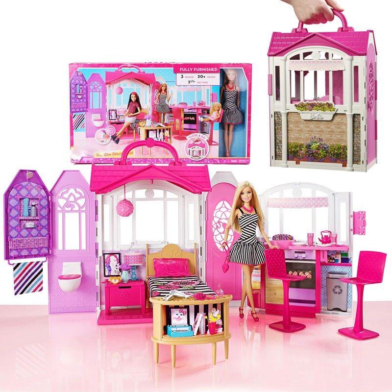 Barbie Rumah Tingkat dengan Aksesoris Furnitur DVV48 Kualitas Barang Mattel  Boneka Berkilauan Berlibur Rumah Kotak Kado 922951124f