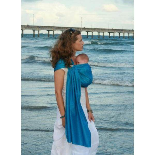 Beachfront Baby Sling – Versatile Water & Warm Weather Adjustable Ring Sling Carrier Made in USA Safety Tested Fabric & Aluminum Rings Lightweight, Quick Dry & Breathable (One Size, Carib Blue) - intl
