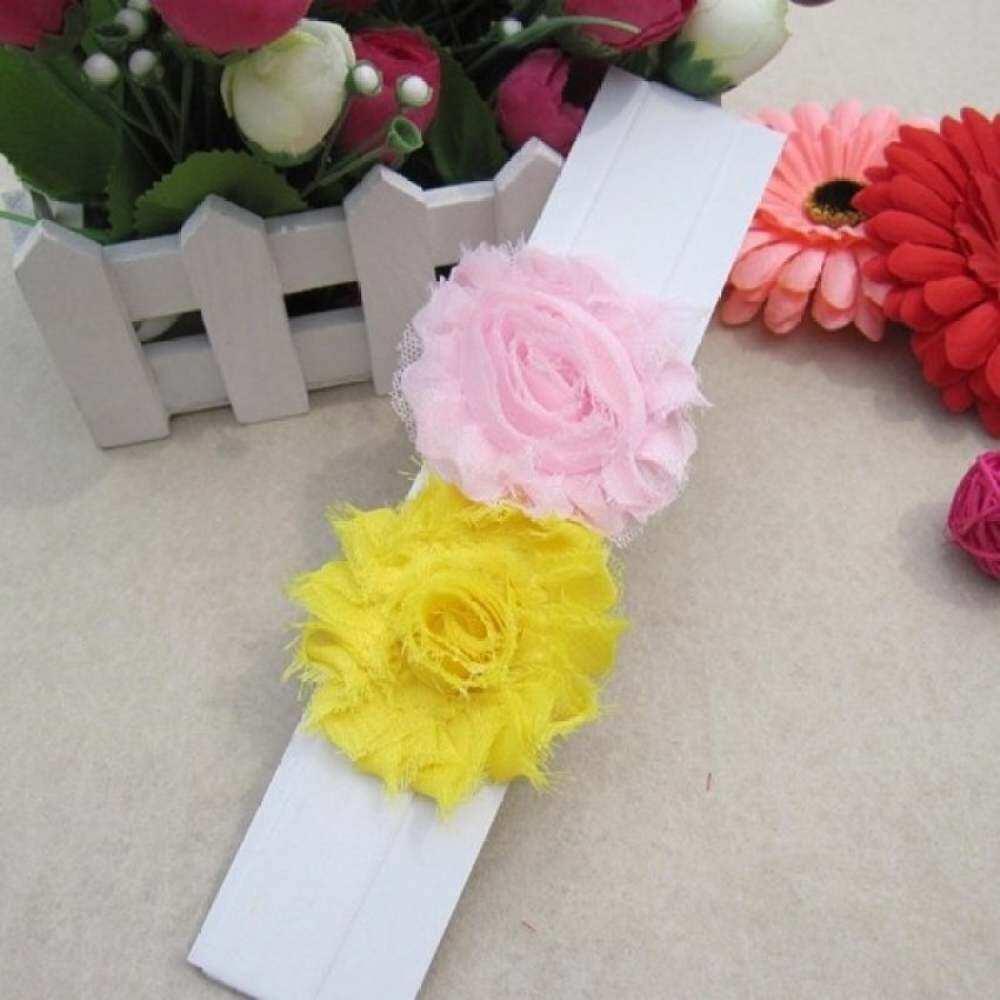 Beautiful Baby Infant Girls Two Silk Flowers Headband Hairband