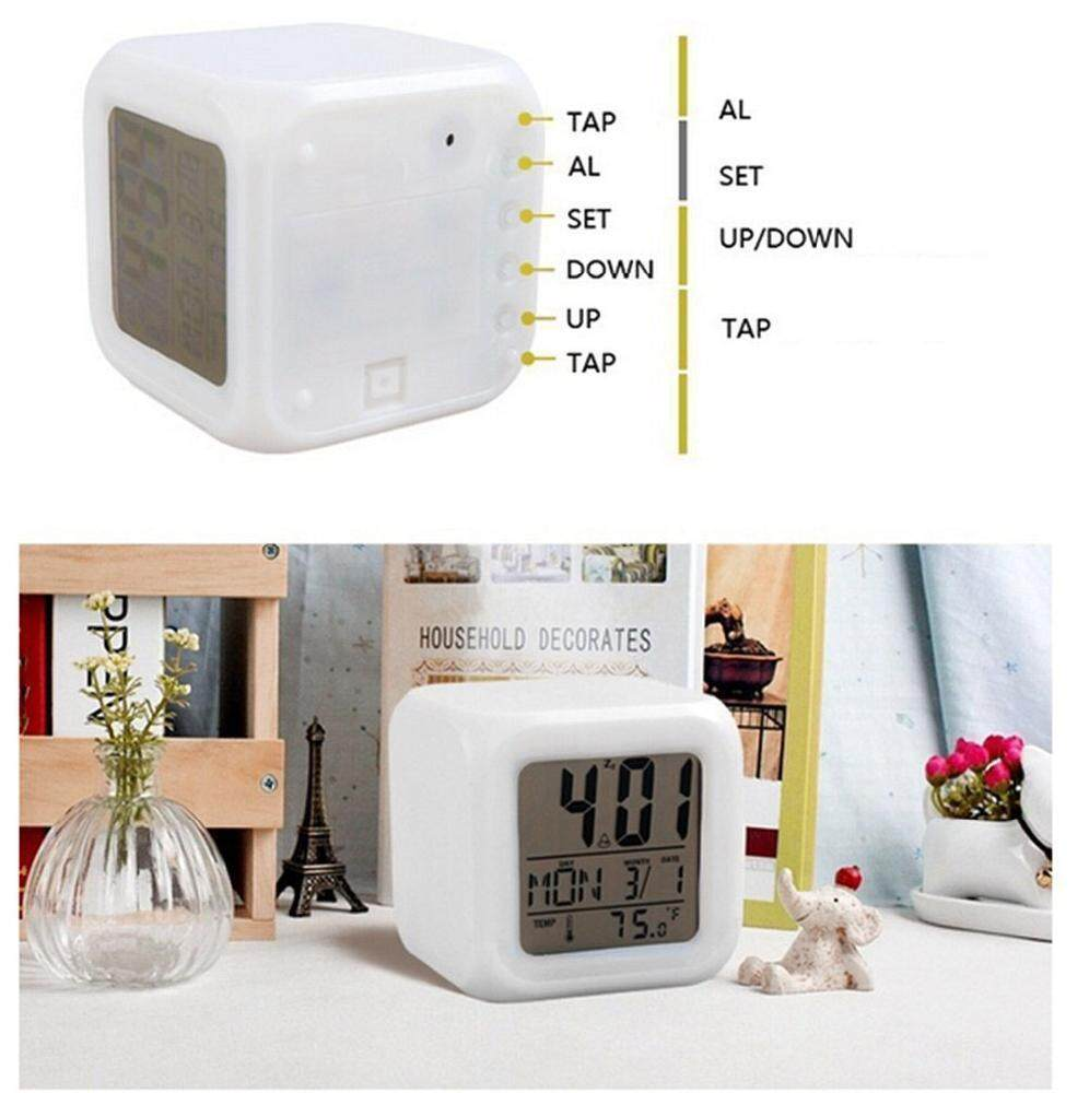 Bedroom Kids 7 Color Led Change Lcd Digital Alarm Thermometer Night Glowing - Intl By Queo.