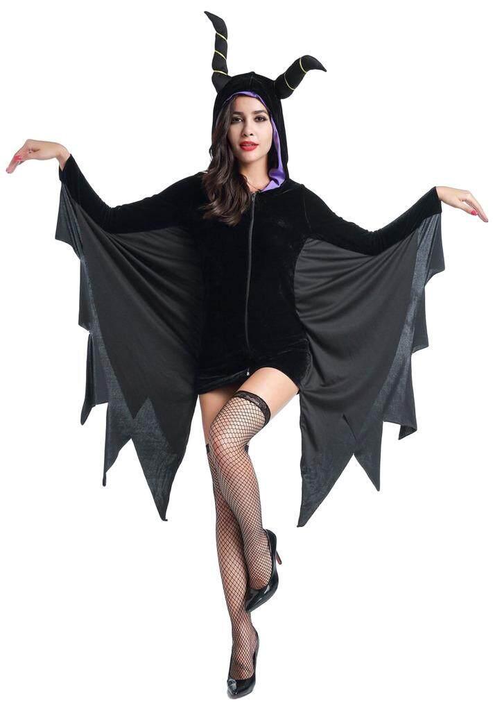 ... Cheapest Price Bigood Wanita Halloween Hitam OXHORN Kostum Penyihir Bar Baju Pentas L sale Hanya Rp291